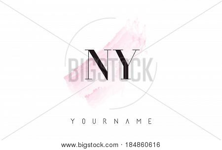Ny N Y Watercolor Letter Logo Design With Circular Brush Pattern.