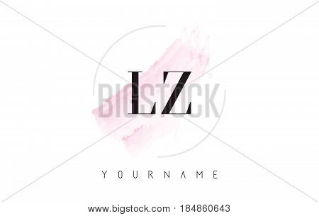 Lz L Z Watercolor Letter Logo Design With Circular Brush Pattern.