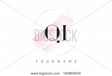 Qi Q I Watercolor Letter Logo Design With Circular Brush Pattern.