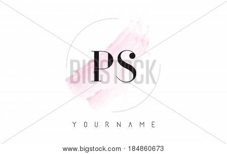 Ps P S Watercolor Letter Logo Design With Circular Brush Pattern.