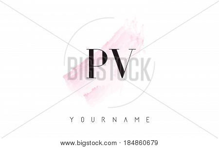 Pv P V Watercolor Letter Logo Design With Circular Brush Pattern.