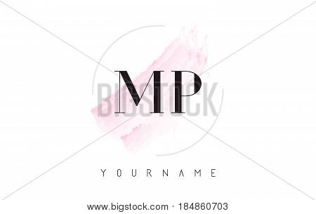 Mp M P Watercolor Letter Logo Design With Circular Brush Pattern.