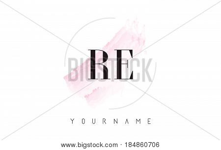 Re R E Watercolor Letter Logo Design With Circular Brush Pattern.