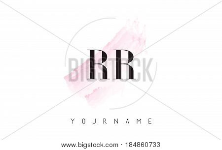 Rr R Watercolor Letter Logo Design With Circular Brush Pattern.