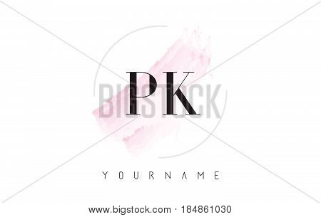 Pi P I Watercolor Letter Logo Design With Circular Brush Pattern.