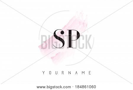 Sp S P Watercolor Letter Logo Design With Circular Brush Pattern.