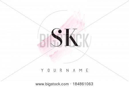 Sk S K Watercolor Letter Logo Design With Circular Brush Pattern.