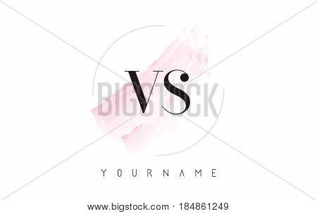 Vs V S Watercolor Letter Logo Design With Circular Brush Pattern.