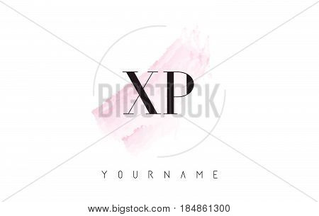 Xp X P Watercolor Letter Logo Design With Circular Brush Pattern.