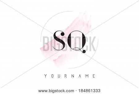 Sq S Q Watercolor Letter Logo Design With Circular Brush Pattern.