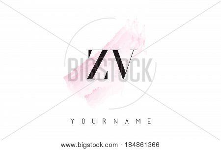 Zv Z V Watercolor Letter Logo Design With Circular Brush Pattern.