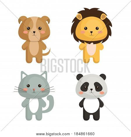 cute and tenders animals vector illustration design