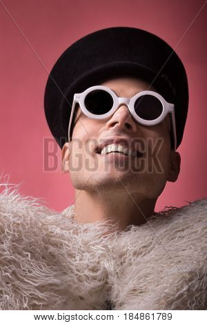 Theatrical Portrait, Fashion Photography, Man Model Laughing