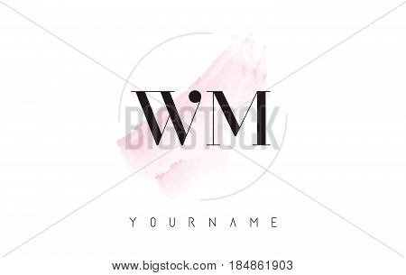 Wm W M Watercolor Letter Logo Design With Circular Brush Pattern.