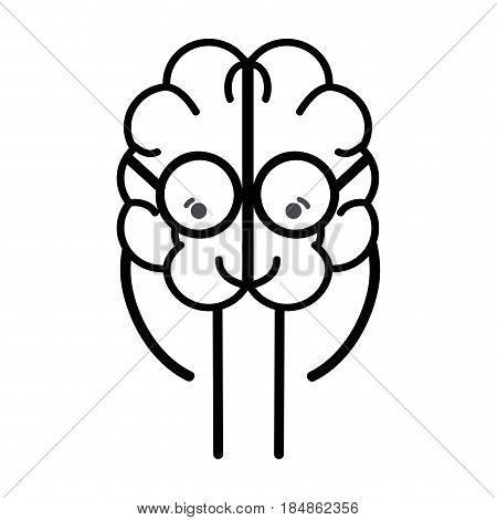 line icon adorable kawaii brain with glasses, vector illustration