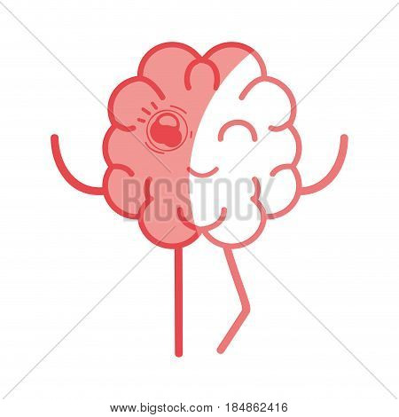 icon adorable kawaii brain expression, vector illustration