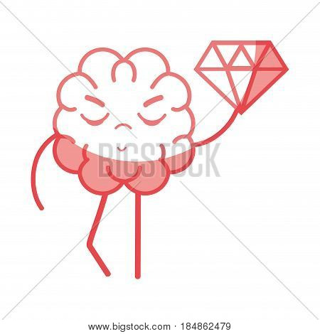icon adorable kawaii brain with a lot of diamond, vector illustration