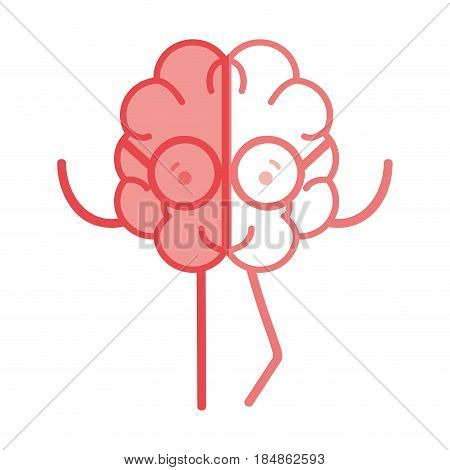 icon adorable kawaii brain with glasses, vector illustration