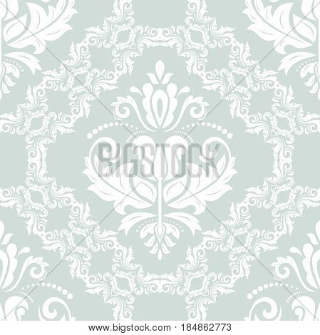 Seamless classic pattern. Traditional orient light blue and white ornament