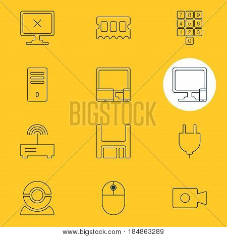 Vector Illustration Of 12 Laptop Icons. Editable Pack Of Memory Chip, Diskette, Access Denied And Other Elements.