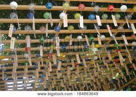 Colorful Japanese Wind Chimes on a Garden