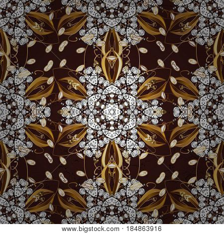 Vintage pattern on brown background with golden elements. Christmas snowflake new year.
