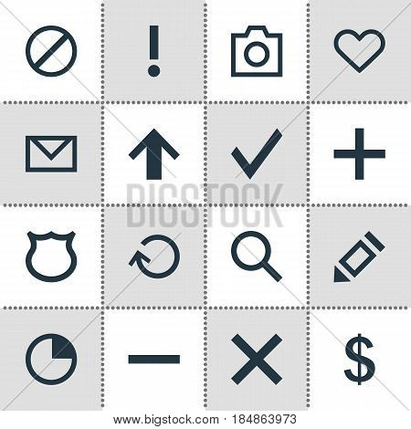 Vector Illustration Of 16 User Icons. Editable Pack Of Renovate, Letter, Conservation And Other Elements.