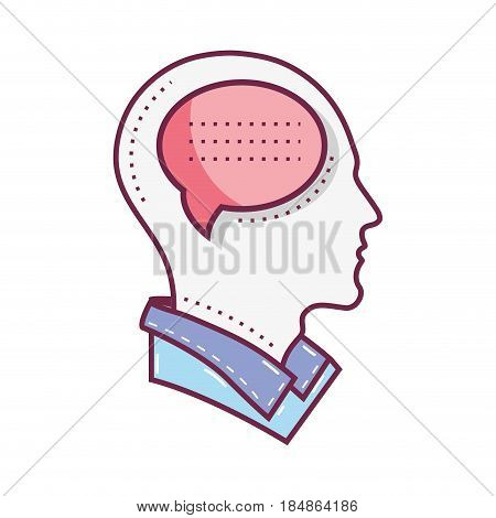 color silhouette head with chat bubble inside, vector illustration