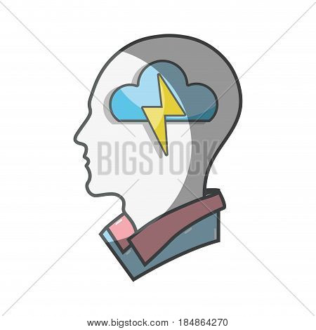 color silhouette head with cloud and ray inside, vector illustration