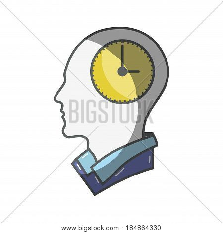color silhouette head with bulb inside, vector illustration