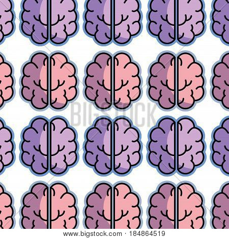 color creative brain and mental healthy background, vector illustration
