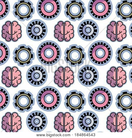 color gear and brain teamwork progress background, vector illustration