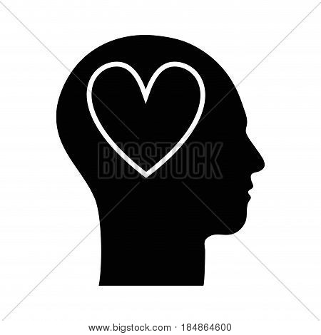 contour silhouette head with heart inside, vector illustration