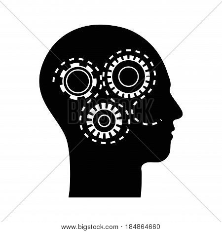 contour silhouette gears with heart inside, vector illustration