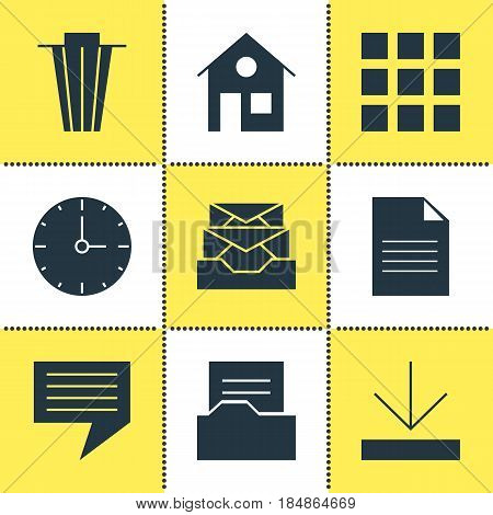Vector Illustration Of 9 Online Icons. Editable Pack Of Clock, Upload, Document And Other Elements.