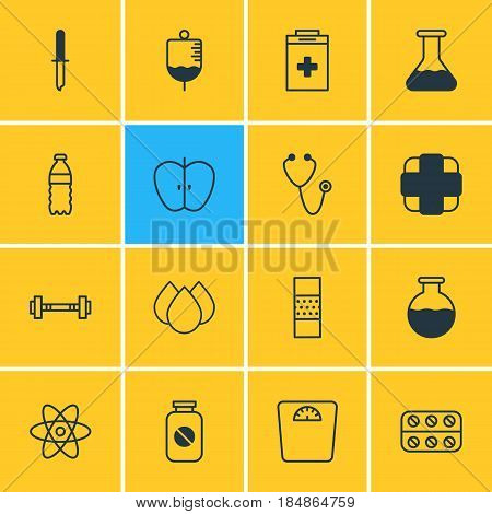 Vector Illustration Of 16 Health Icons. Editable Pack Of Aspirin , Band Aid, Flask Elements.