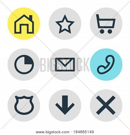 Vector Illustration Of 9 User Icons. Editable Pack Of Handset, Stopwatch , Downward Elements.