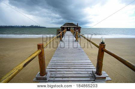 Wooden pier in Catembe towards Maputo bay