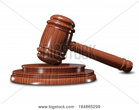 3D Illustration of the Hammer of Justice on a White Background