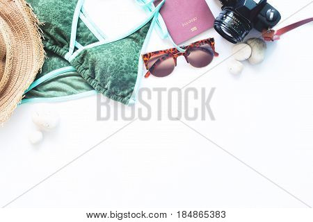 Beach summer travel concept with copy space isolated on white background