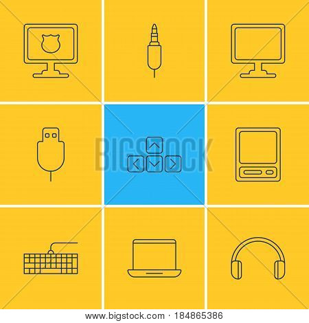 Vector Illustration Of 9 Computer Icons. Editable Pack Of Qwerty Board, Notebook, Input Jack And Other Elements.