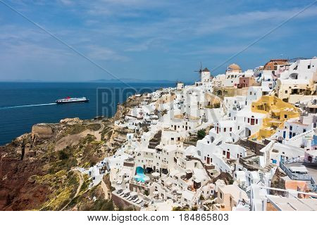 Cityscape of Oia village and Caldera view at morning, Santorini island, Greece