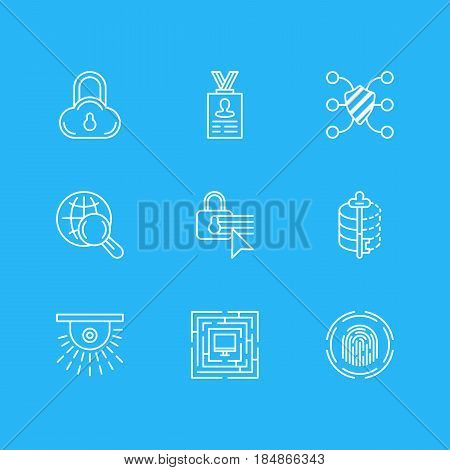 Vector Illustration Of 9 Web Safety Icons. Editable Pack Of Camera, Safeguard, Account Data And Other Elements.