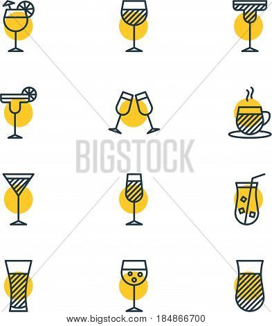 Vector Illustration Of 12  Icons. Editable Pack Of Beverage, Martini, Juice And Other Elements.