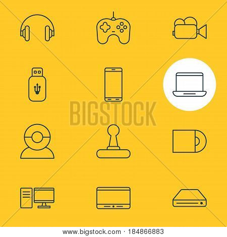 Vector Illustration Of 12 Accessory Icons. Editable Pack Of Headset, Dvd Drive, Usb Card And Other Elements.