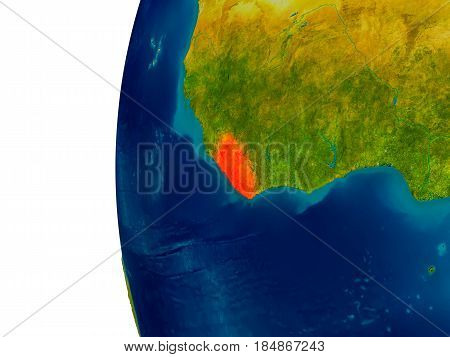 Liberia On Model Of Planet Earth
