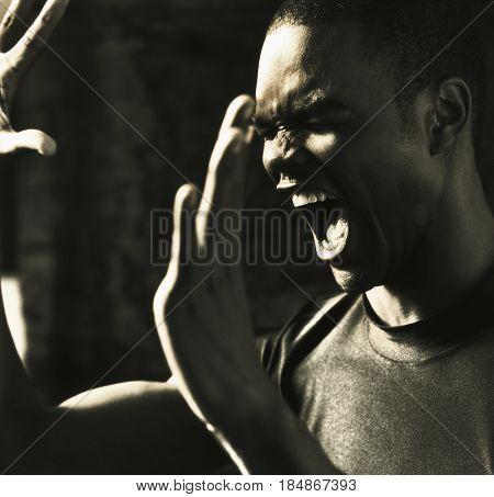 Angry, shouting man