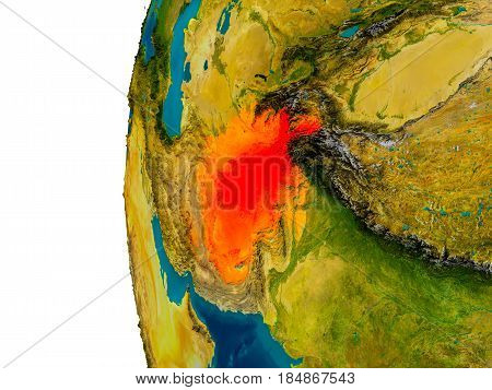 Afghanistan On Model Of Planet Earth