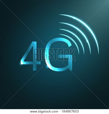 4G vector sign icon. Mobile telecommunications technology symbol.