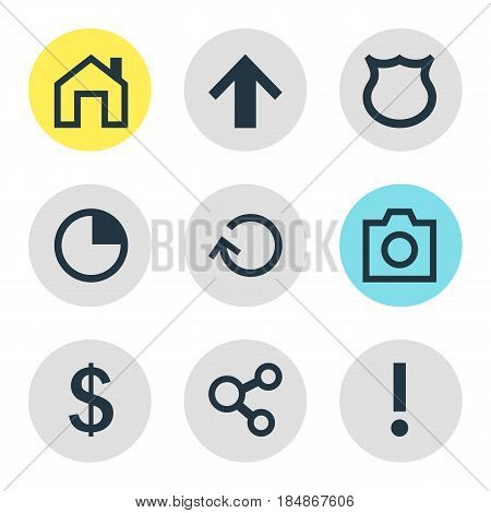 Vector Illustration Of 9 User Icons. Editable Pack Of Alert, Publish, Money Making And Other Elements.